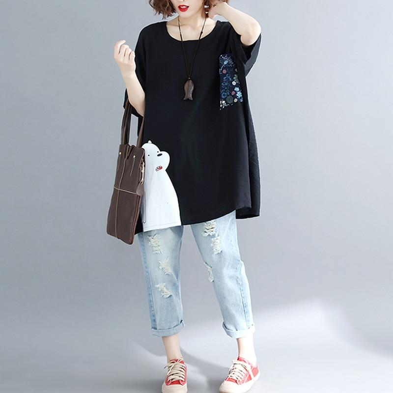 BIG SIZE 5XL 2019 Summer Women Fashion Elegant Cartoon Print Tops Lady Female Large Sleeve Oversize Loose Cotton Split T shirt 4