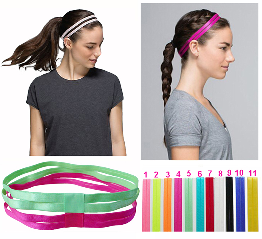 6 Pieces Lot Double Sports Elastic Headband Softball Yoga Anti-slip Silicone Rubber Hair Bands Bandage On Head For Hair Scrunchy