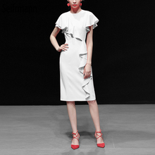 Seifrmann New 2019 Women Spring Summer Dress Runway Fashion Designer Short Sleeve Ruffles Elegant Slim Ladies Mid Dresses