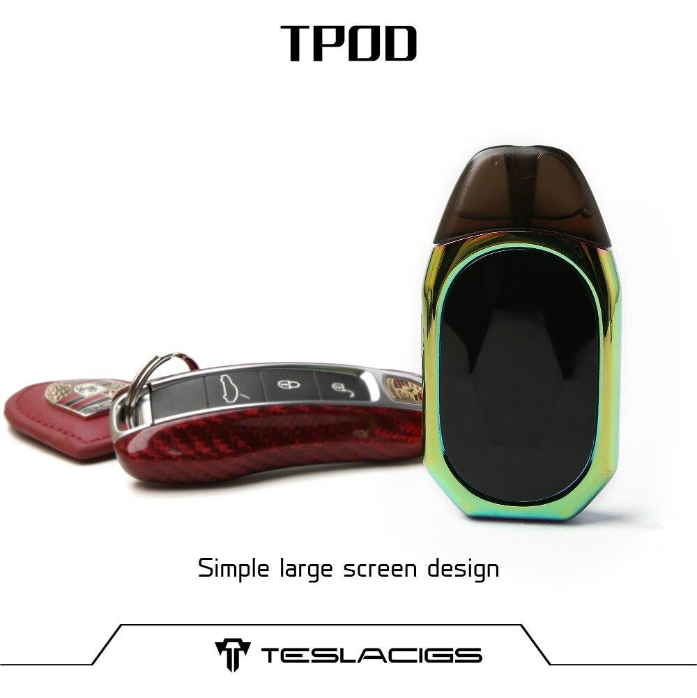 Teslacigs Verbraucher Elektronik Zigarette Kit Tesla TPOD Kit 500 mAh mit display und 2 ml Nachfüllbare Pod Patronen