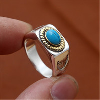 BESTLYBUY 2018 Retro Natural Blue Turquoises Rings Men Vintage 925 sterling silver Ring Male Ringen Jewelry bague homme