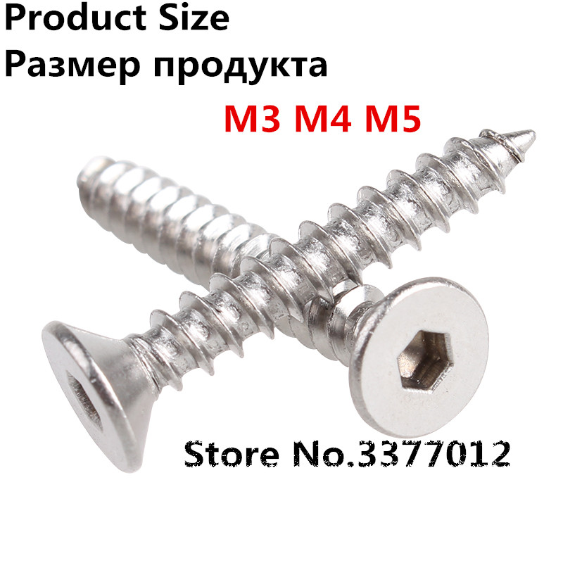 50pcs/lot 304 stainless steel flat head hexagonal self tapping screw M3 M4 M5 Countersunk head Hexagon self-tapping screws 100pcs lot st2 9 st3 9 st4 2 st4 8 stainless steel self tapping anti theft screw sus304 flat head self tapping torx screw