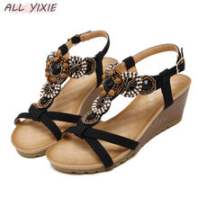ALL YIXIE 2019 New Summer Bohemia Wedge Women Sandals  Vintage Rhinestone Woman Flip Flops Beach High Heels Open Toe Women Shoes недорго, оригинальная цена