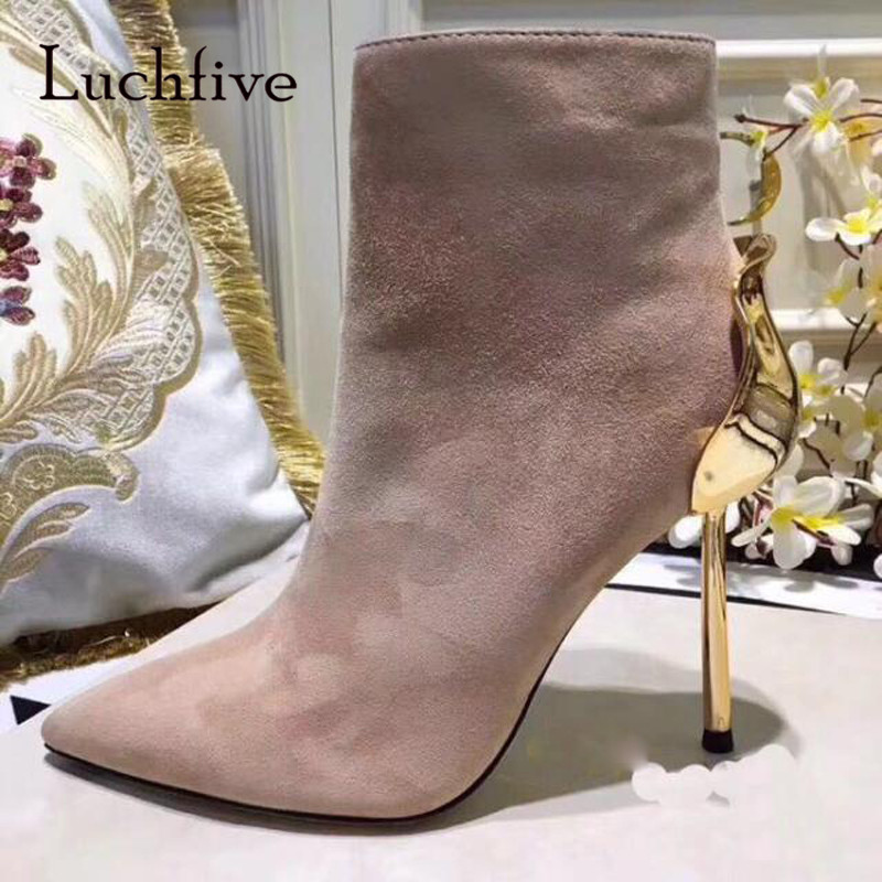 New Arrival Rose Metal Heel Boots Woman Pointed Toe Beige Green Red Suede Ankle Boots Women Sexy Boots Short new arrival black leather and suede ankle boots women pointed toe short boots wedges boots metal buckles decorated free shipping