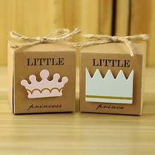 50pcs/set Newborn Baby Candy Box Little Princess/Prince Crown Boxes Shower Party Gift Birthday Supplies