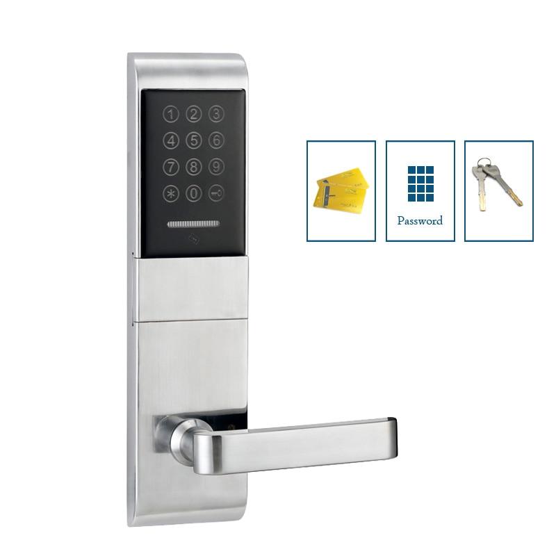 Electric key code door lock apartment security passcode door lock with M1 card reader jcsmarts jcf3301 goden color electric key card door lock fingeprint biometric lock with double tongue mortise