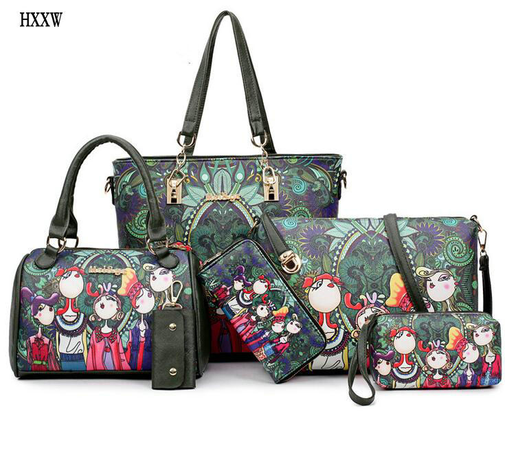 NEW Fashion Dark Green Forest Cartoon Image Printing Retro Shoulder Bag Women Leather Messenger Tote Bags Handbag Woman 6 sets