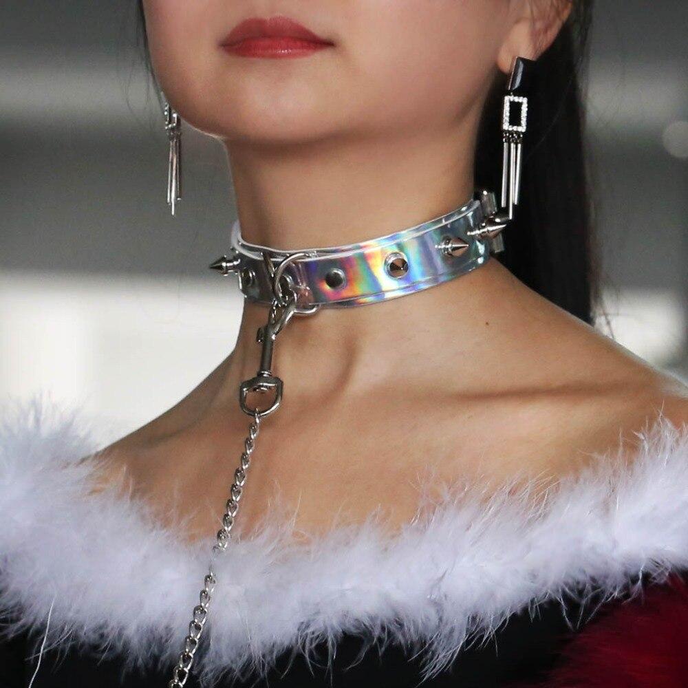 f0c442741a6f KMVEXO 2019 Punk Chokers Collar Spikes cuero gargantilla Bondage Goth  joyería mujer arnés gótico Collar COLGANTE láser joyería