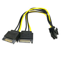 Adapter Dual SATA 15Pin Male M to PCI-e 6 Pin Female F Video Card Power Cable Drop Shipping l1027#2(China)
