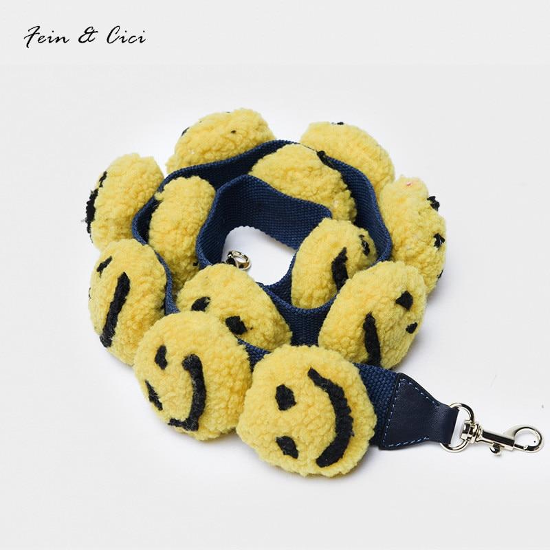 Smiling Face Leather Handbag Accessories shoulder strap cute strap you bag handbag large big strap yellow fur pompom handle