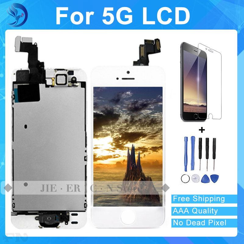 Best Quality Test AAA NEW lcd display touch screen with digitizer home button front camera speaker assembly for iphone 5 5s 5c free shipping aaa quality for iphone 5 5s 5c lcd display touch screen digitizer frame assembly white black with opening tools