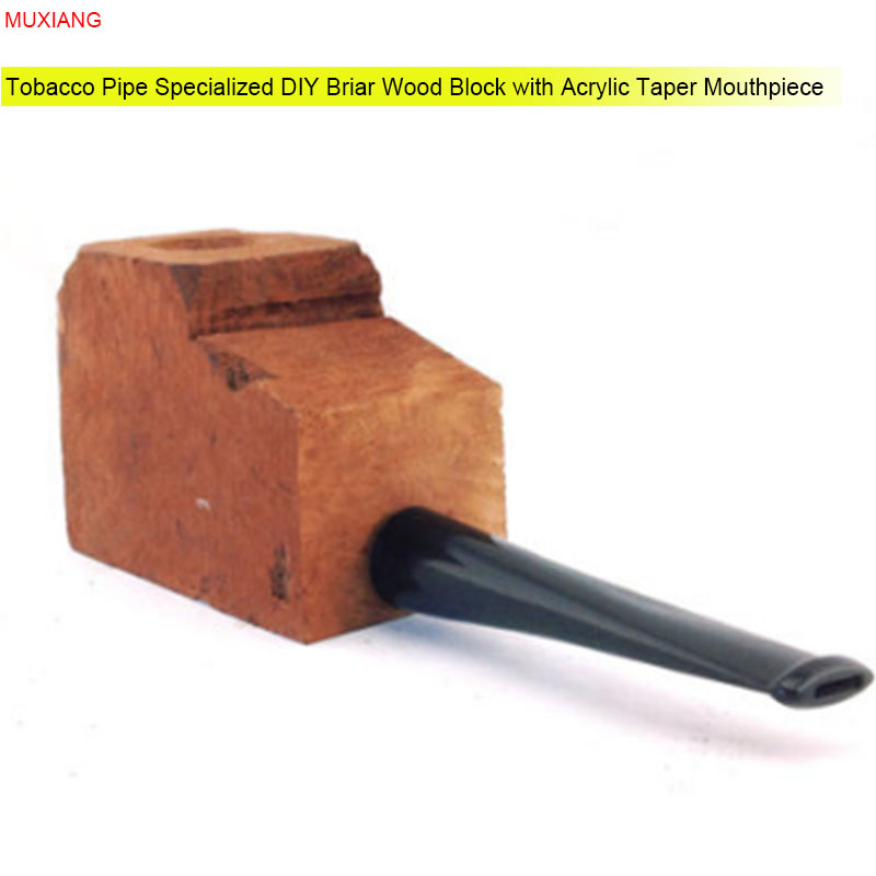 MUXIANG Pipe Specialized Briar Wood Block with Acrylic Taper Nozzle DIY Crafts for Pipe Making Men