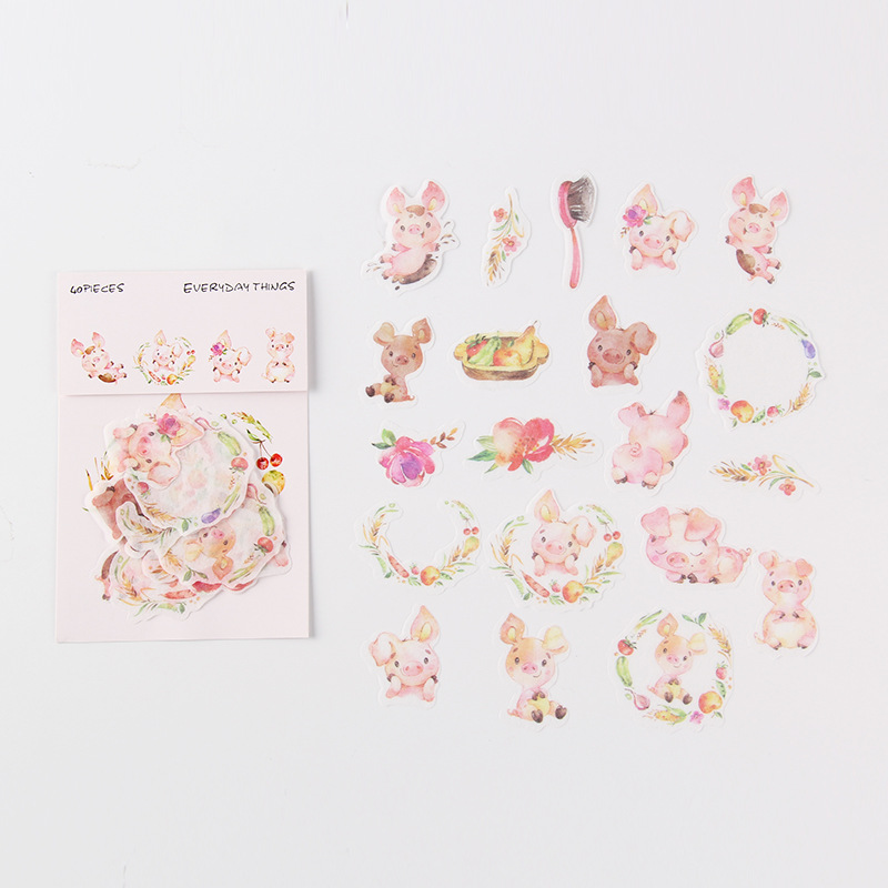 Pink Pig Cute Mini Bag Bullet Journal Decorative Stationery Stickers Scrapbooking DIY Diary Album Stick