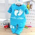 2017 New Spring baby girls boys Candy color clothes set, T-shirt +pants infant long sleeve chldren clothes suits