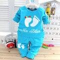 2017 Nova Primavera do bebê meninas meninos Doce cor roupas definida, T-shirt + calças de manga longa infantil roupas chldren ternos