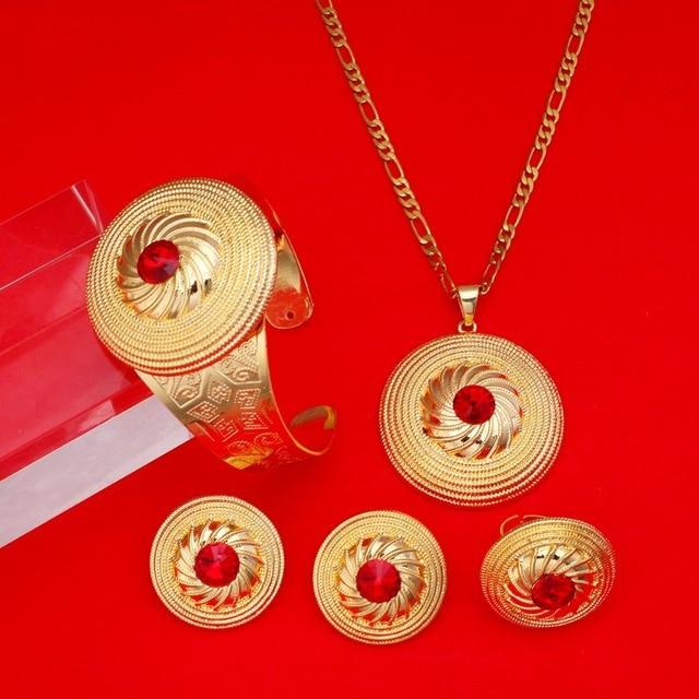 Gold Ethiopian Cross Jewelry Set Ethiopia Gold Jewelry Set Africa