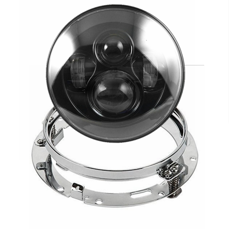 7 40W Led Headlight with Silver 7 Inch Headlamp Bezel Trim Mounting Bracket Ring for Harley Davidson or any other Cruiser Bike