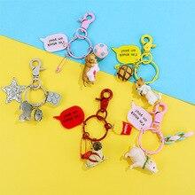 New Mini Resin Animals Key Chain Cute Girls Keyring Cat And Pig Keychain Women Or Men Keyring puppy Key Chains цена и фото
