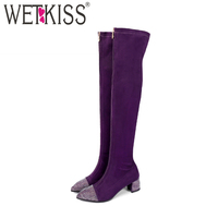 WETKISS Plus Size 43 Stretch Women Over The Knee Boots Crystal Pointed Toe Footwear High Heels Lady Boot Shoes Woman 2018 Purple