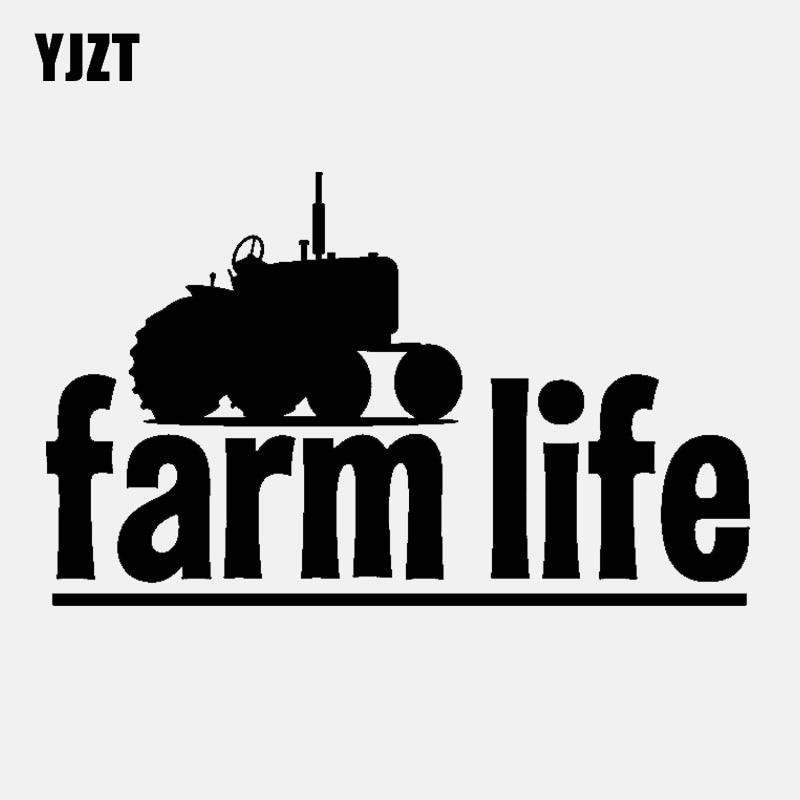 YJZT 15CM*9.2CM Fashion Graphical Farm Life Vinyl Car Sticker Decal Black Silver C11-2096
