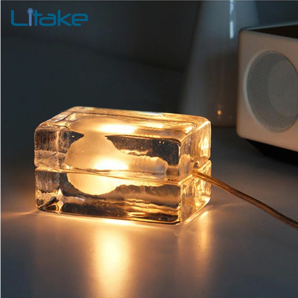 Litake Glass Ice Table Lamp Romantic Ice Block Cube Table Lamp Glass Desk Light Nightlights for Home Decor