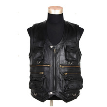 Leather Motorcycle Vest Luxury Autumn Winter Jacket Sleeveless Waistcoat With Many Pockets Real Cow Leather Photographer Vest