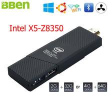 Bben Мини-ПК Окна 10 Ubuntu Intel вишня Z8350 Quad-Core HD Графика 2 ГБ 4 ГБ Оперативная память hdmi stick ПК мини мобильный Бизнес компьютер