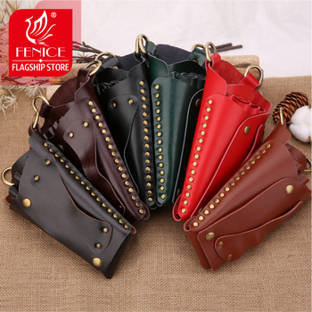 Fenice Vintage High Quality Rivet Leather Case Hairdressing Barber Salon Holster Pouch Styling Tools Bag for Hair Scissors