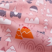 Pink cartoon Baby Cotton Twill Fabric Printed baby cotton cloth  for DIY Sewing Bed Sheet Dress making fabric