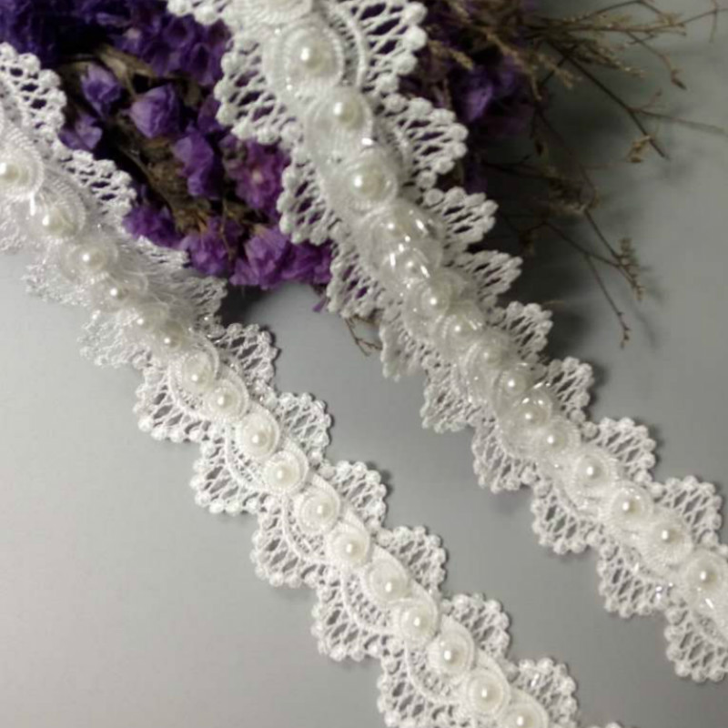 1 yards Double layer Flowers pearl Lace clothing accesories Trim Sewing crafts