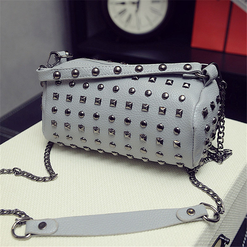 PU leather women wallets rivet round chains cross-body coin money bags change purses mini pouches carteira feminina for girls