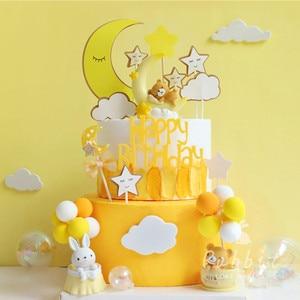 Image 5 - Ins Roze Maan Beer Ster Konijn Decoratie Gelukkige Verjaardag Cake Toppers Voor Kinderen Baby Party Bakken Bruiloft Benodigdheden Leuke Cadeaus