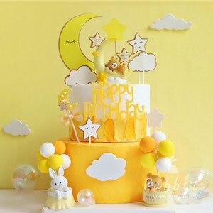 Image 5 - Ins 핑크 문 베어 스타 토끼 장식 생일 축하 케이크 토퍼 어린이 베이비 파티 베이킹 웨딩 용품 귀여운 선물