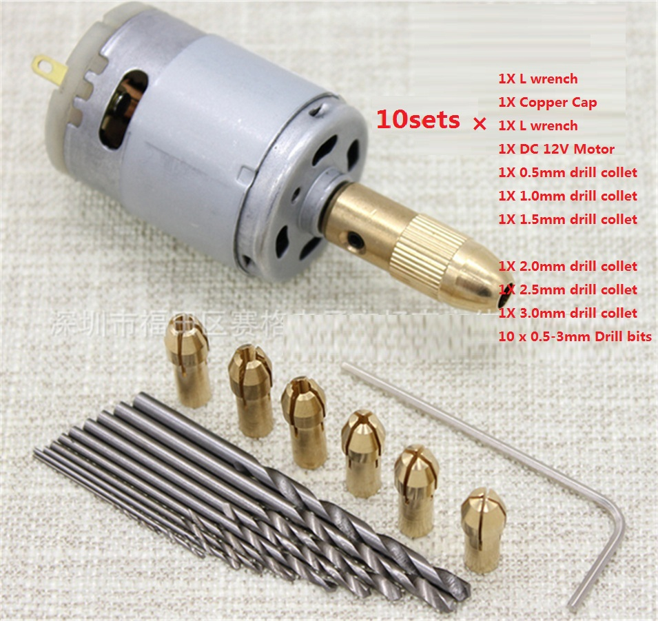 10sets DC 12V Electric Motor Drill Press with 6pc 0.5-3mm Brass Drill Chuck Collets and 10pc 0.5-3mm Micro Twist Drill Bits Set bernard s schweigert microwaves in the food processing industry