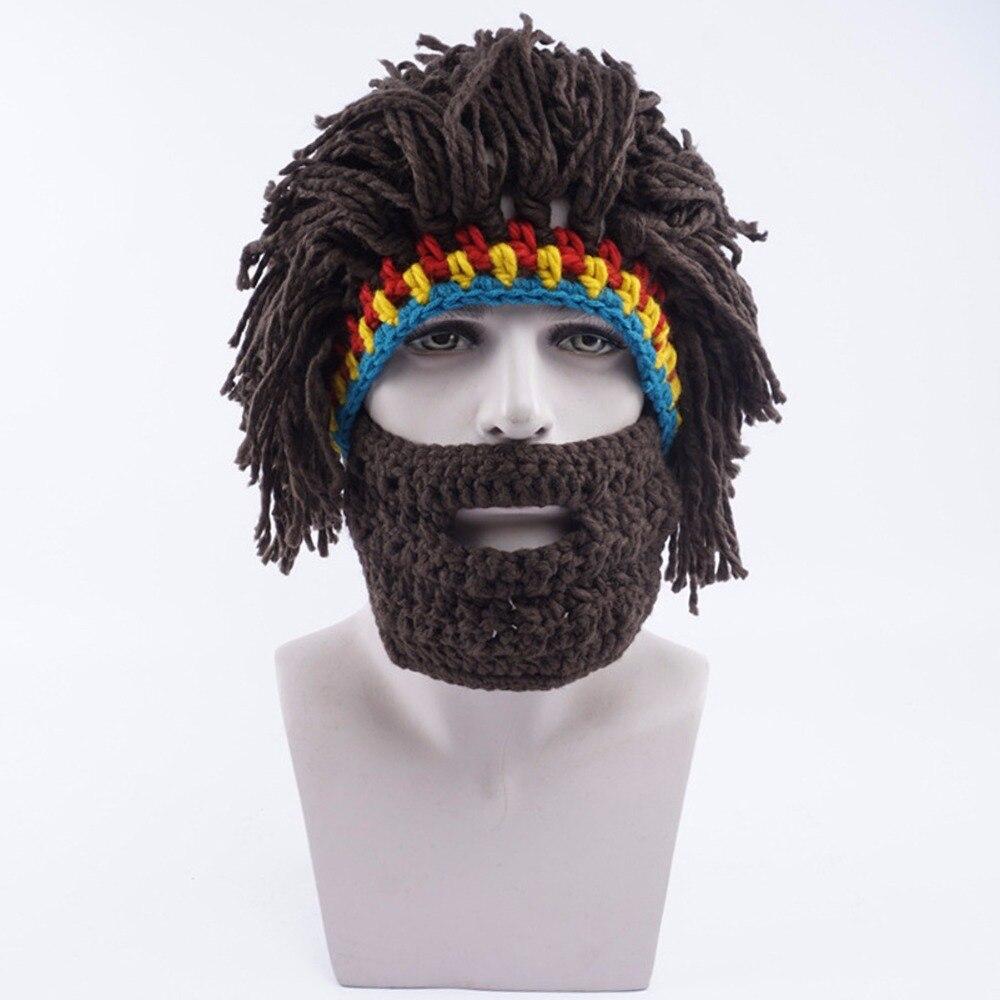 2017 Wig Beard Hat Rasta Beanie Caveman Bandana Handmade Crocheted Gorro Winter Men's Halloween Costume Funny Birthday Gifts nick sharratt caveman dave
