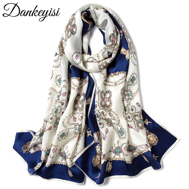 DANKEYISI Pure Silk Women   Scarf   Female Luxury Brand Hijab Satin Silk Shawl Scarfs Foulard Long Neck   Scarves     Wraps   2018