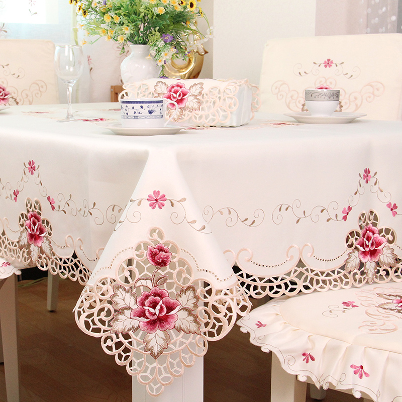 TY1017 European Rustic Quality Tablecloth Luxury Dining Table Cloth Embroidered Cover With Chair Set