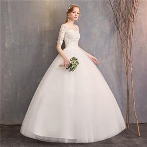 Image 5 - Vestido De novia barato Mrs Win, novedad De 2020, medio gorro De manga, ilusión De princesa, vestidos De boda, Vestido De novia personalizado F