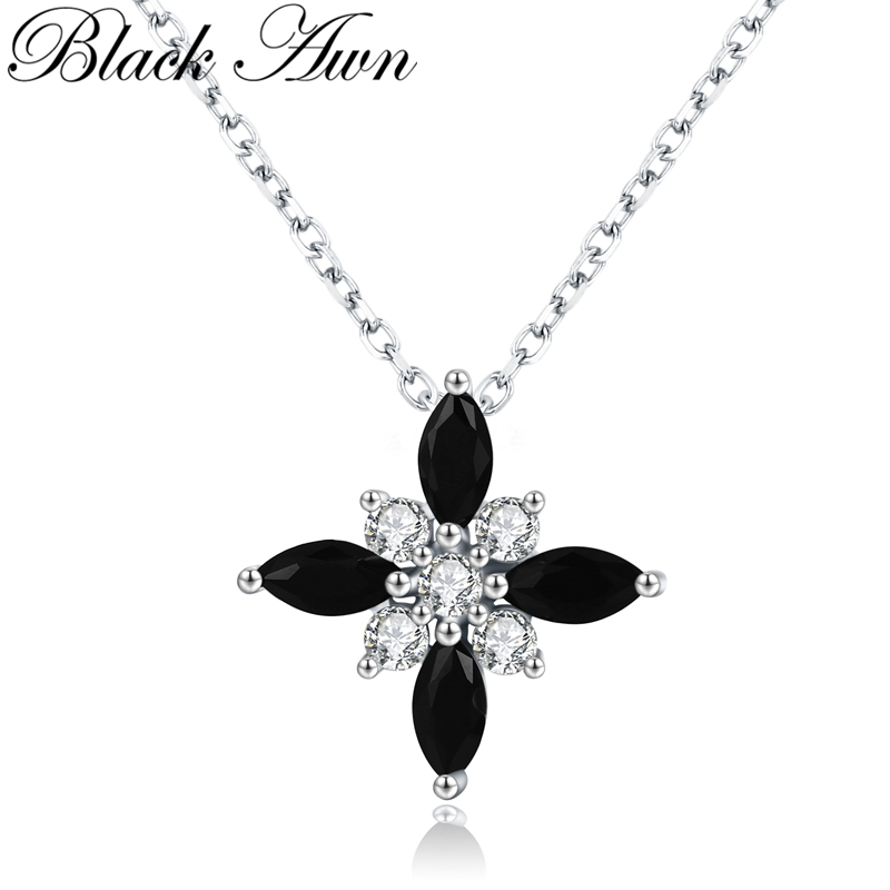 [BLACK AWN] Real 925 Sterling Silver Jewelry Necklace For Women Trendy Windmill Necklaces Pendants K004