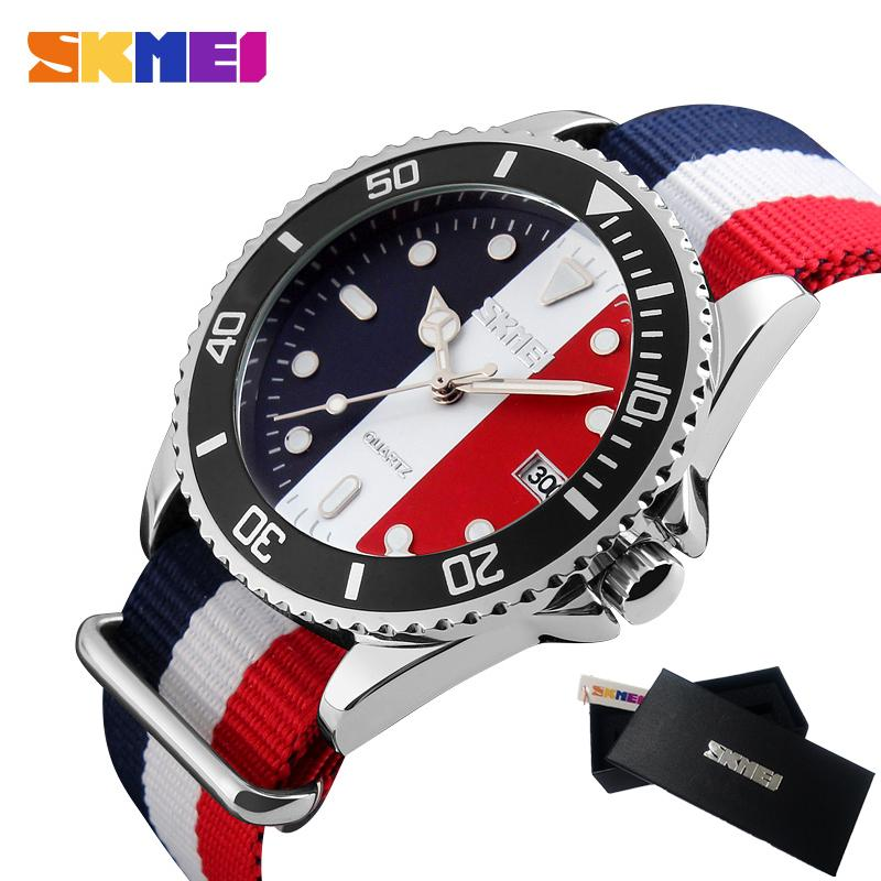 цена на Famous Brand Watches Men Luxury Brand Male Clock Quartz Watch Fashion Casual Multicolor Stripe Nylon Fabric Canvas Wristwatches