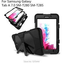 Case para Samsung Galaxy Tab 7.0 T280 T285, Durable 3 Capas del Silicón + PC Híbrido Robusto Soporte Cubierta Repelente Al Agua A Prueba de Golpes
