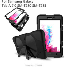 цена на New Shockproof Hard case Military Heavy Duty Silicone Rugged Stand Cover For Samsung Galaxy Tab A 7.0 T280 T285 +OTG+Pen+Film