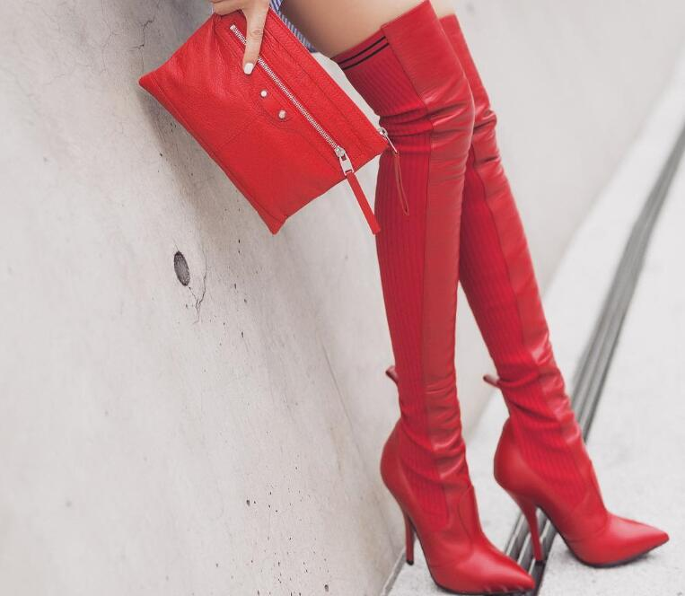 2018 Spring New Fashion Red Leather Women Knit Patchwork Over The Knee Boots Sexy Pointy Toe Ladies Sexy High Heel Boots Size 42 2018 new suede leather patchwork women flodover mid calf boots sexy pointy toe ladies blade heel boots zipper knight boots
