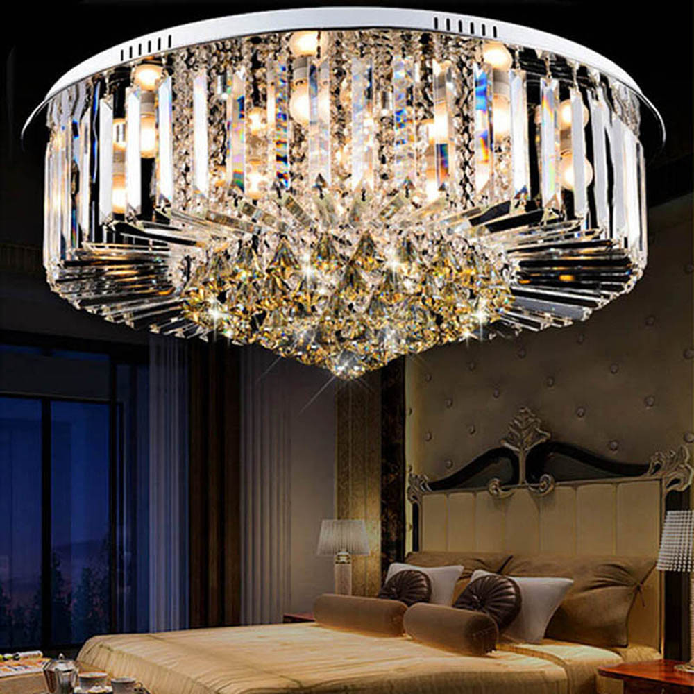 Simple round K9 crystal ceiling lamp LED living room restaurant lights lighting lamps Luxury Fashion Chandelier For Living Room best price luxury crystal chandelier k9 crystal lamp living room bedroom modern restaurant round creative led lamps lighting