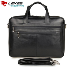 LEXEB Full Grain Men's Leather Briefcase 17″ Laptop Large Capacity Business Travel Bag 43 CM With Double Zippers Open Black