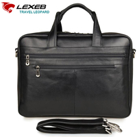 LEXEB Brand Men S Solid Full Grain Genuine Leather Briefcase Business Travel Bags 43 CM High