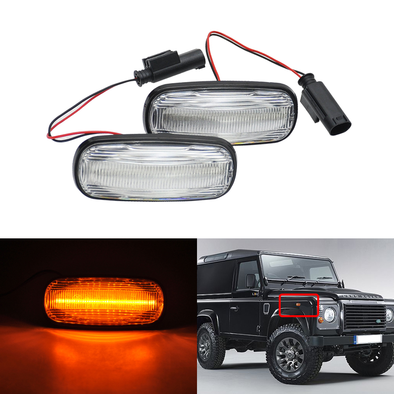 Smoke Clear Lens Amber Led Side Marker Turn Signal Light For Land Rover Freelander 02 05