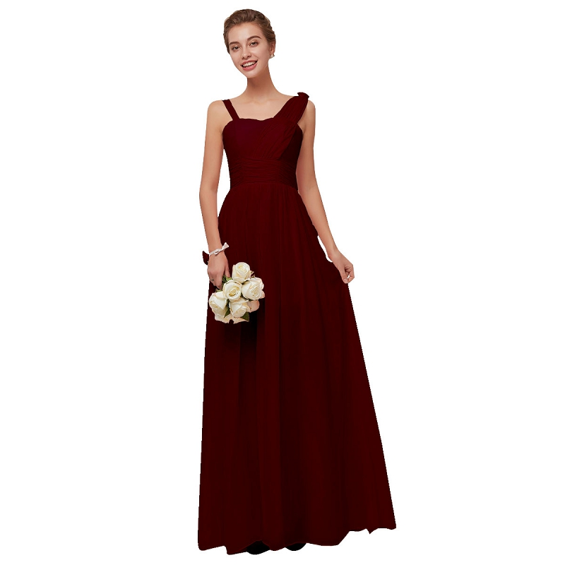 Beauty Emily Wine Red Chiffon   Bridesmaid     Dresses   2019 Long for Women A-line Party Prom   Dresses   Wedding Party Bridal   Dress