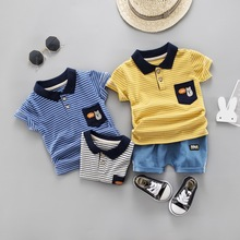 New Summer Casual Childrens Short Sleeve Suit Cartoon Stripe Lapel Shorts 2 Pieces/set Sports
