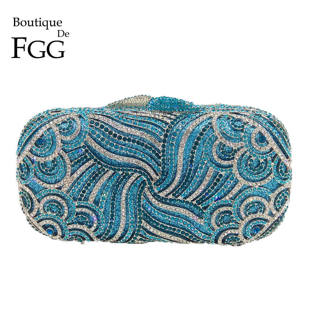 Boutique De FGG Sparkling Diamond Crystal Women Blue Evening Purse Hollow Out Bridal Wedding Handbag Metal Minaudiere Clutch Bag